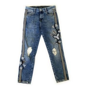 ZARA TRAFALUC Floral Embroidered Stripe Jeans 4